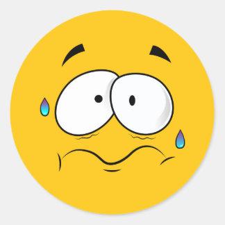 Pegatina Redonda Emoji amarillo preocupante