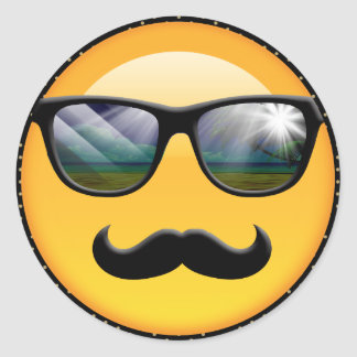 Pegatina Redonda Emoji ID230 sombrío estupendo