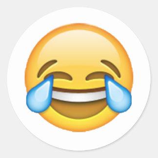 Pegatina Redonda Emoji - rasgones de la alegría