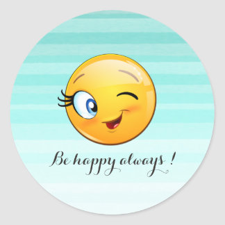 Pegatina Redonda Emoji sonriente de guiño adorable Cara-Es feliz