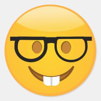 Pegatina Redonda Empollón lindo con los pegatinas de Emoji de los