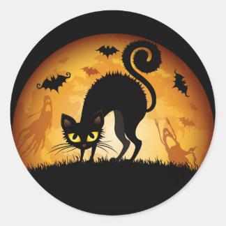 Pegatina Redonda En los pegatinas de Halloween del guardia