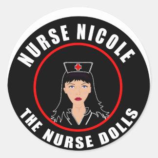 Pegatina Redonda Enfermera Nicole