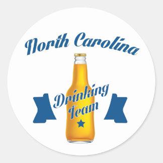 Pegatina Redonda Equipo de consumición de Carolina del Norte