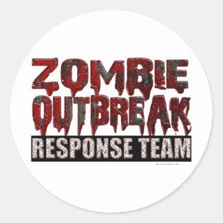 Pegatina Redonda Equipo de la respuesta del brote del zombi