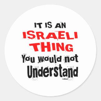 PEGATINA REDONDA ES DISEÑOS ISRAELÍES DE LA COSA