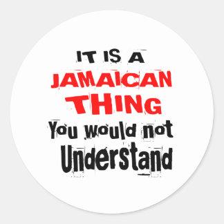PEGATINA REDONDA ES DISEÑOS JAMAICANOS DE LA COSA