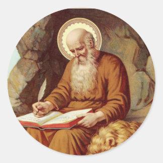 Pegatina Redonda Escritura de la escritura de St Jerome con el león