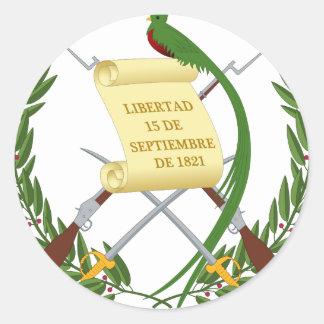 Pegatina Redonda Escudo de armas de Guatemala - escudo de armas