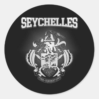 Pegatina Redonda Escudo de armas de Seychelles