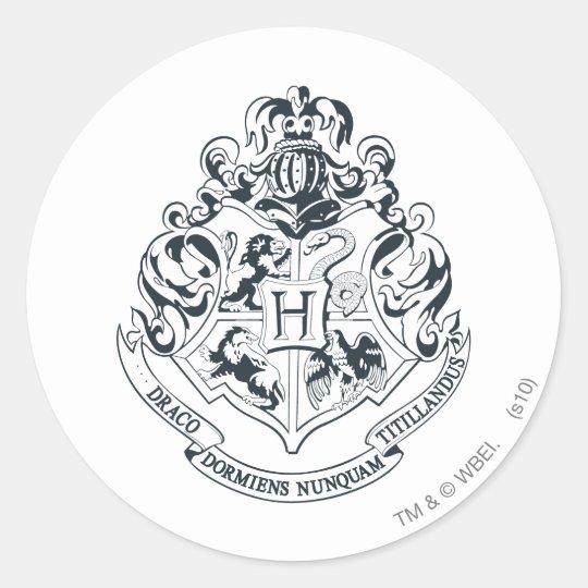 Pegatina Redonda Escudo De Harry Potter El Hogwarts Blanco Y