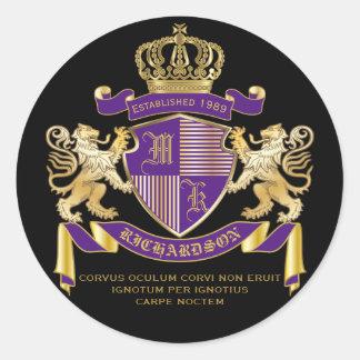 Pegatina Redonda Escudo de oro del león del emblema del monograma