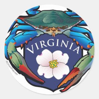 Pegatina Redonda Escudo del flor del Dogwood de Virginia del