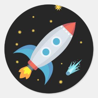 Pegatina Redonda Espacio Rocket Emoji