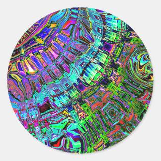 Pegatina Redonda Espectro abstracto de formas
