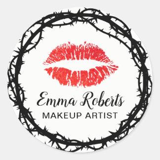 Pegatina Redonda Espina elegante de los labios rojos del artista de