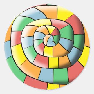 Pegatina Redonda Espiral colorido