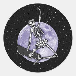 Pegatina Redonda Esqueleto del tablero