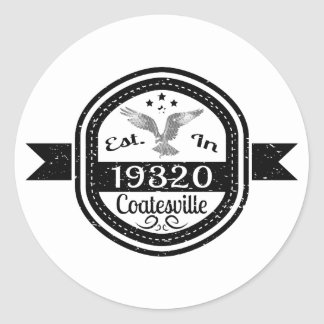 Pegatina Redonda Establecido en 19320 Coatesville