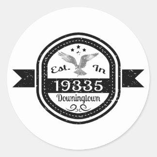 Pegatina Redonda Establecido en 19335 Downingtown