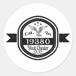 Pegatina Redonda Establecido en 19380 Chester del oeste