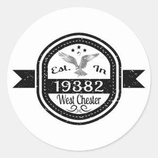Pegatina Redonda Establecido en 19382 Chester del oeste
