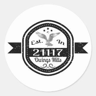 Pegatina Redonda Establecido en 21117 Owings Mills