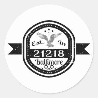 Pegatina Redonda Establecido en 21218 Baltimore