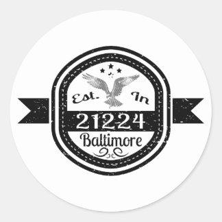 Pegatina Redonda Establecido en 21224 Baltimore