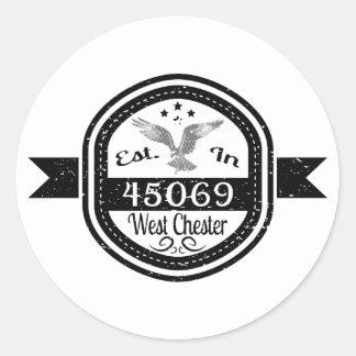 Pegatina Redonda Establecido en 45069 Chester del oeste