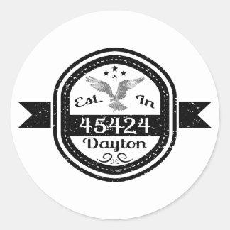 Pegatina Redonda Establecido en 45424 Dayton