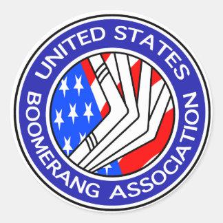 Pegatina Redonda Estados Unidos Boomerang la asociación pequeño