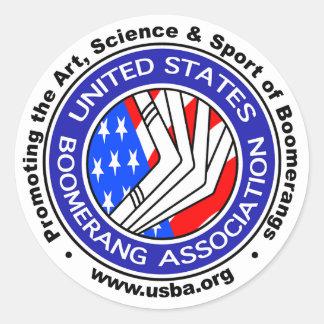 Pegatina Redonda Estados Unidos Boomerang la asociación sticker3