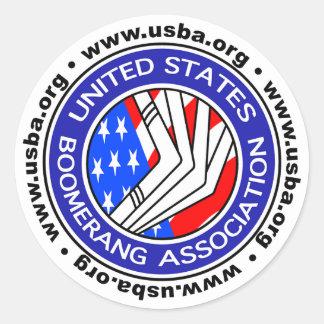 Pegatina Redonda Estados Unidos Boomerang la asociación sticker4