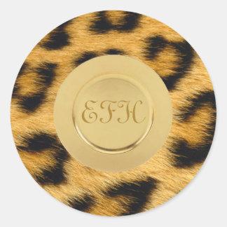 Pegatina Redonda Estampado leopardo 1
