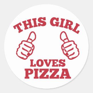 Pegatina Redonda Este chica ama la pizza