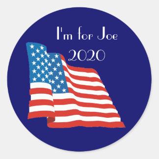 Pegatina Redonda Estoy para Joe - 2020 con la bandera americana