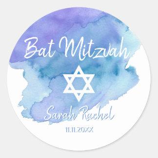Pegatina Redonda Estrella azul de la acuarela de la barra Mitzvah