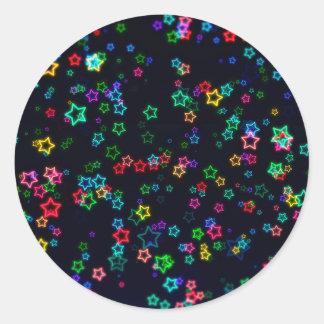 Pegatina Redonda Estrella de neón del estallido colorido