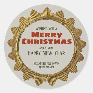 Pegatina Redonda Estrella del oro del navidad del vintage con el