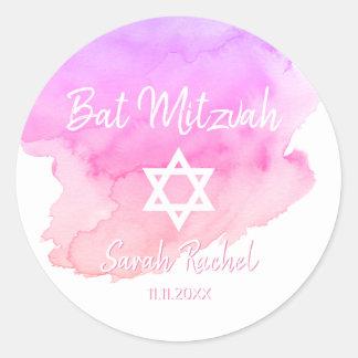 Pegatina Redonda Estrella rosada de la acuarela de la barra Mitzvah