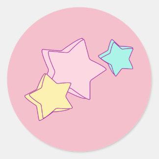 Pegatina Redonda estrellas lindas