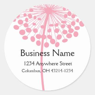 Pegatina Redonda Etiquetas de dirección redondas de la flor rosada