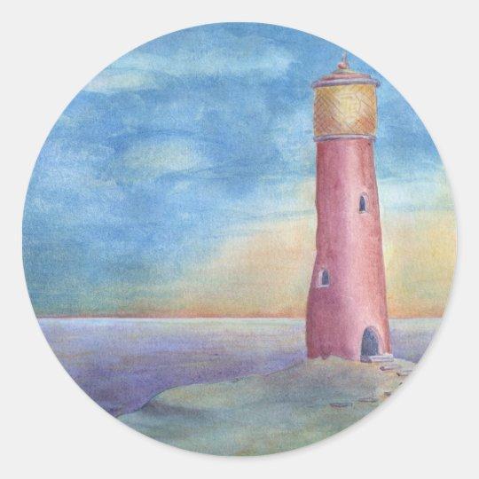 Pegatina Redonda Evening at the lighthouse