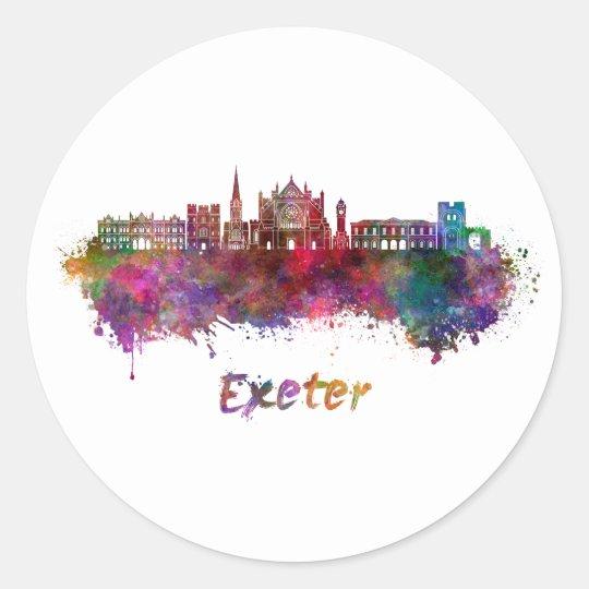 Pegatina Redonda Exeter skyline in watercolor