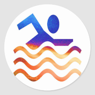 Pegatina Redonda Éxito de la natación - mente fresca en épocas