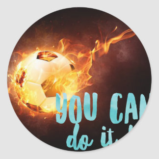 Pegatina Redonda Éxito inspirado de motivación del fútbol