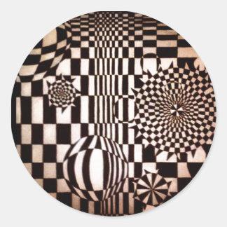 Pegatina Redonda Extracto blanco y negro