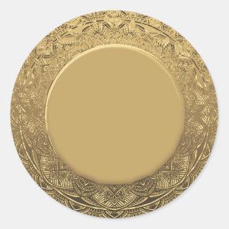 Pegatina Redonda Falso efecto metalizado del oro en blanco de