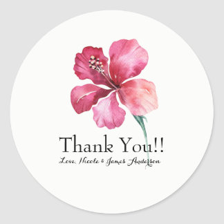 Pegatina Redonda Favor floral del boda de la flor del hibisco